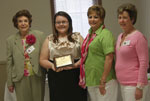 Noel Marie Netzhammer, a 2011 graduate of Chapelle High School, is the recipient of Metairie Woman's Club $2500 Scholarship Award.  Shown at the presentation are Betty Corbeille, Scholarship Committee member, Miss Netzhammer; Polly Thomas, president; and Lisa Baynham, Ways and Means chairman.  Miss Netzhammer plans to attend LSU and study pre-med or Nursing.
